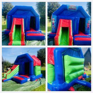 12ft x 14ft Blue & Red slide castle with optional super hero artwork
